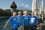 FC Luzern v St Johnstone...16.07.14  Europa League 2nd Round Qualifier<br /> Fans arrive in Lucerne...From left, Father &amp; son Robbie and Mark Taylor, Hamish Henderson and Graeme Buchan<br /> Picture by Graeme Hart.<br /> Copyright Perthshire Picture Agency<br /> Tel: 01738 623350  Mobile: 07990 594431