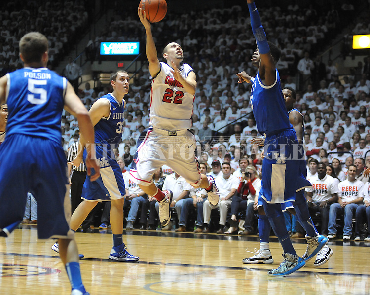 "Ole Miss' Marshall Henderson (22) vs. Kentucky's Nerlens Noel (3) vs. Kentucky at the C.M. ""Tad"" Smith Coliseum on Tuesday, January 29, 2013."