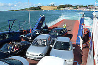 Strangford Ferry heads for Strangford from Portaferry, The ferry connects the two towns located at the mouth of Strangford Lough, Co Down, N Ireland, UK, 201208180567..Copyright Image from Victor Patterson, 54 Dorchester Park, Belfast, UK, BT9 6RJ..Tel: +44 28 9066 1296.Mob: +44 7802 353836.Voicemail +44 20 8816 7153.Skype: victorpattersonbelfast.Email: victorpatterson@me.com.Email: victorpatterson@ireland.com (back-up)..IMPORTANT: If you wish to use this image or any other of my images please go to www.victorpatterson.com and click on the Terms & Conditions. Then contact me by email or phone with the reference number(s) of the image(s) concerned.