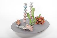 Axolotl:  designer- Sebastian Arellano, folder - Rosalind Joyce<br /> Aquatic flower:  traditional, folder - Rosalind Joyce<br /> Aquatic grass:  designer + folder - Delrosa Marshall<br /> Twist plant:  designer - Jeff Beynon, folder - Rosalind Joyce