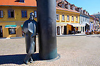 Staue of Croatian novelist, critic, editor, poet, and dramatist August ?enoa by sculptor Marija Ujevic. Vla?ka, Zagreb, Croatia