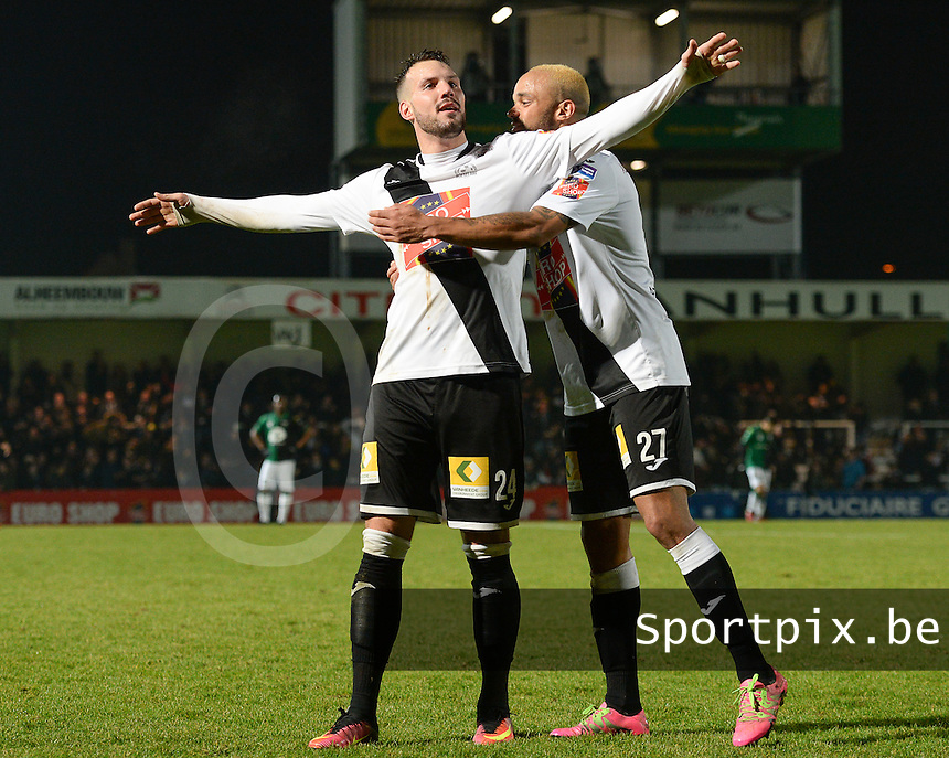 20161217 - ROESELARE , BELGIUM : Roeselare's Mathieu Cornet pictured celebrating his goal and the 3-1 lead for Roeselare with Francois Kompany (r)  during the Proximus League match of D1B between Roeselare and Cercle Brugge, in Roeselare, on Saturday 17 December 2016, on the day 20 of the Belgian soccer championship, division 1B. . SPORTPIX.BE | DAVID CATRY