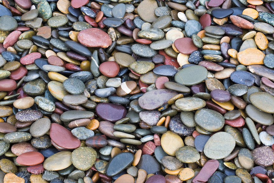 Pebbles on beach, Pembrokeshire, Wales, UK. January.
