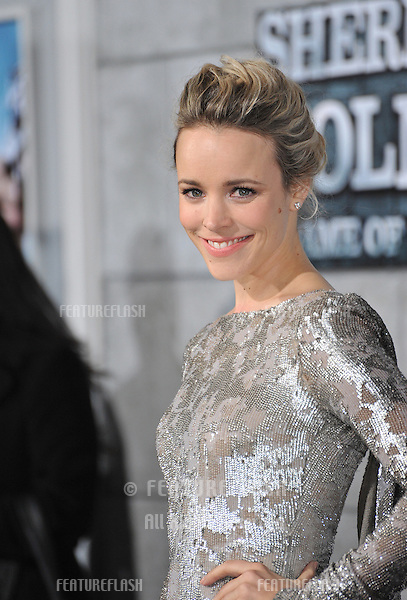 """Rachel McAdams at the Los Angeles premiere of her new movie """"Sherlock Holmes: A Game of Shadows"""" at the Village Theatre, Westwood..December 6, 2011  Los Angeles, CA.Picture: Paul Smith / Featureflash"""