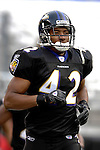 31 December 2006: Baltimore Ravens safety Gerome Sapp warms up prior to a game against the Buffalo Bills at M&amp;T Bank Stadium in Baltimore, Maryland. The Ravens defeated the Bills 19-7. Mandatory Photo Credit: Ed Wolfstein Photo.<br />