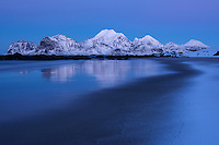 Winter twilight at Storsandnes beach, Flakstadøy, Lofoten Islands, Norway