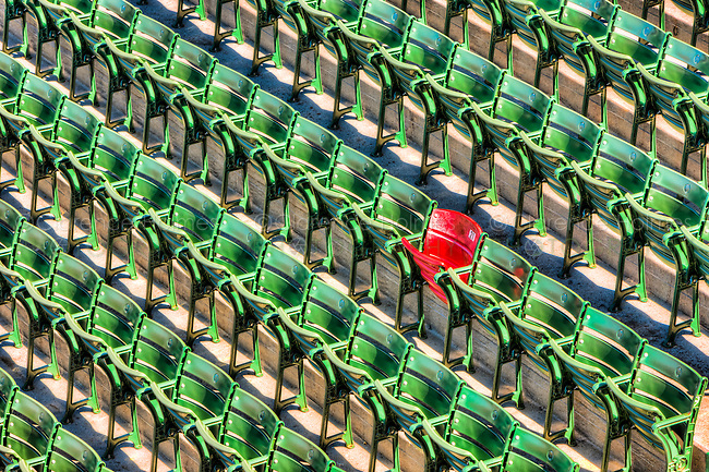 """The """"Red Seat"""" in right field in Fenway Park commemorates the landing place for the longest home run in Fenway history, struck by the bat of the """"Splendid Splinter"""" Ted Williams on June 9, 1946.  The home run measured 502 feet."""