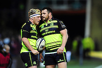 Cian Healy of Leinster Rugby shares a lineout call with team-mate James Tracy. European Rugby Champions Cup match, between Northampton Saints and Leinster Rugby on December 9, 2016 at Franklin's Gardens in Northampton, England. Photo by: Patrick Khachfe / JMP