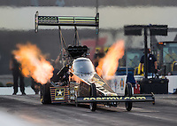 Sep 16, 2016; Concord, NC, USA; NHRA top fuel driver Tony Schumacher during qualifying for the Carolina Nationals at zMax Dragway. Mandatory Credit: Mark J. Rebilas-USA TODAY Sports