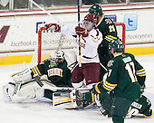 Pat Mullane (BC - 11) celebrates his goal. - The Boston College Eagles defeated the University of Vermont Catamounts 4-1 on Friday, February 1, 2013, at Kelley Rink in Conte Forum in Chestnut Hill, Massachusetts.