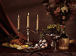 Artistic food still life of festive meal on a table