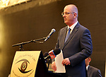 Palestinian Prime Minister Rami Hamdallah speaks during Third annual conference of State Audit and Administrative Control Bureau, in the West Bank city of Ramallah on April 26, 2017. Photo by Prime Minister Office