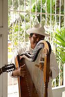 Traditional son jarocho harpist performing in a restaurant in Catemaco, Veracruz, Mexico