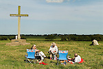 Pilgrims picnic, after the Bishop of Norwich the Rev Graham James gas attended the annual pilgrimage to the ruined abbey of St Benets. Ludham Norfolk UK. Annually first Sunday in August.