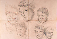 BNPS.co.uk (01202 558833)<br /> Pic: SAS/BNPS<br /> <br /> Preparatory sketches for a painting of US president Jimmy Carter.<br /> <br /> An amazing 30 year old time capsule of Royal artworks have been found gathering dust in a dilapidated estate near Tonbridge in Kent.<br /> <br /> They form part of a remarkable collection of 400 works by the almost forgotten painter Bernard Hailstone, that have been locked away in his abandoned studio at Hadlow Tower since his death in 1987.<br /> <br /> Amongst the famous figures who sat for Mr Hailstone, who died in 1987, were the Queen, the Queen Mother, Prince Charles, Winston Churchill, former US president Jimmy Carter and actor Laurence Olivier.<br /> <br /> While sitting for her portrait at Buckingham Palace, The Queen asked him to adjust the aerial so she could watch the horse racing on the TV.<br /> <br /> The then US president Jimmy Carter was sketched by Mr Hailstone during a flight from London to New York, while Mr Hailstone and Winston Churchill discussed aliens during their sitting at Chartwell.