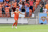 Houston, TX - Saturday April 15, 2017: Rachel Daly celebrates her first goal of the year during a regular season National Women's Soccer League (NWSL) match between the Houston Dash and the Chicago Red Stars at BBVA Compass Stadium.