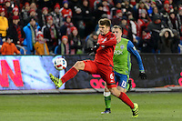 Toronto, ON, Canada - Saturday Dec. 10, 2016: Nick Hagglund, Jordan Morris during the MLS Cup finals at BMO Field. The Seattle Sounders FC defeated Toronto FC on penalty kicks after playing a scoreless game.