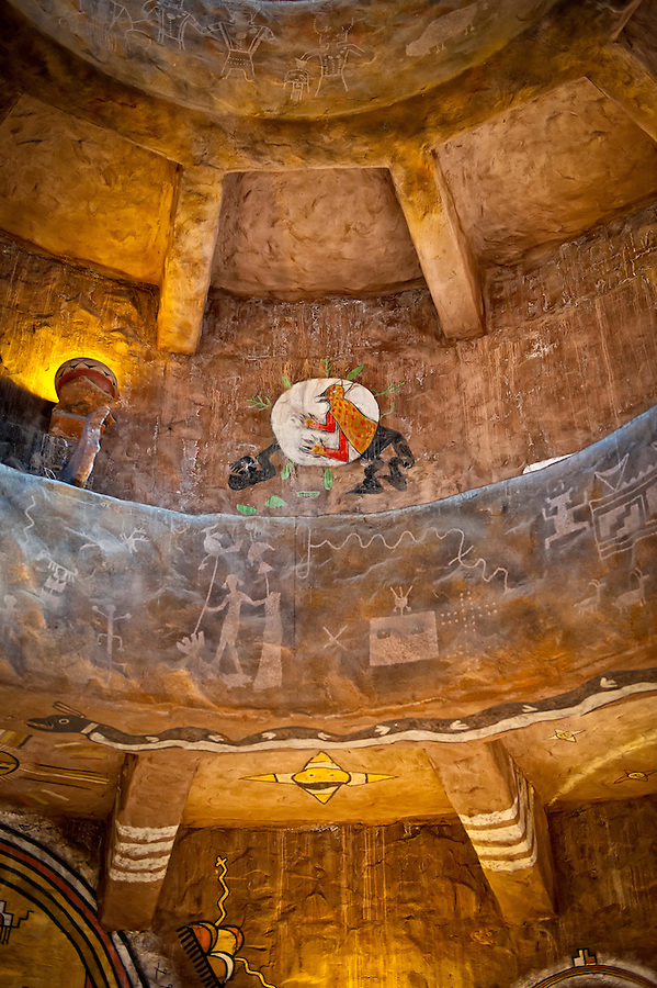 Interior Picture of the Desert View Watchtower. This is a 70-foot (21 m)-high stone building located on the South Rim of the Grand Canyon. The four-story structure, completed in 1932, was designed by American architect Mary Colter, The interior contains murals by Fred Kabotie. The bottom floor of the tower now contains a gift shop while the upper floors serve as an observation deck from which visitors to the national park can view eastern portions of the Grand Canyon. Desert View Watchtower was designated a United States National Historic Landmark on May 28, 1987.  License for Editorial Usage Only.