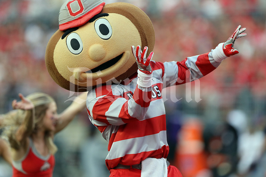 Brutus Buckeye dances with the dance team at Ohio Stadium in Columbus, Ohio on October 29, 2016. (Columbus Dispatch photo by Brooke LaValley)