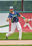 9 July 2015: Vermont Lake Monsters infielder Jesus Lopez gets the second out of the 6th inning against the Mahoning Valley Scrappers at Centennial Field in Burlington, Vermont. The Lake Monsters rallied to tie the game 4-4 in the bottom of the 9th, but fell to the Scrappers 8-4 in 12 innings of NY Penn League play. Mandatory Credit: Ed Wolfstein Photo *** RAW Image File Available ****