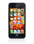 Apple iPhone 5 black with desktop icons over fall themed wallpaper on its display isolated on white background with clipping path