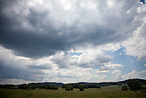"""Feld in der Nähe der ehemaligen Grenzstation in Dolni Dvoriste - von 1955 bis 1989 lag der Ort am Eisernen Vorhang. In diesem Gebiet verläuft die """"grüne"""" Staatsgrenze zwischen der Tschechischen Republik und Österreich."""