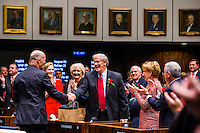 TALLAHASSEE, FLA. 11/18/14-ORGSESS111814CH-President of Florida State University and former Sen. John Thrasher, R-St. Augustine, shakes hands with Gov. Rick Scott as Thrasher recognized by the Senate during the Organizational Session, Nov. 18, 2014 at the Capitol in Tallahassee. Thrasher won re-election to his seat, but resigned after the election to accept the position at FSU.<br /> <br /> COLIN HACKLEY PHOTO