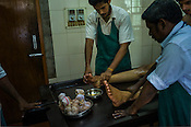 Resident patient get the oil massage before Shashtika Sali Pinda Sueda (full body rice ayurvedic treatment) at the National Research Institute of Panchakarma in Cheruthuruthy in Thissur district of Kerala, India.