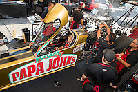 Sep 23, 2016; Madison, IL, USA; Crew members for NHRA top fuel driver Leah Pritchett during qualifying for the Midwest Nationals at Gateway Motorsports Park. Mandatory Credit: Mark J. Rebilas-USA TODAY Sports