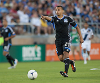 Stanford, California - Saturday June 30, 2012: Jason Hernandez motions his teammate during a game at Stanford Stadium, Stanford, Ca.San Jose Earthquakes defeated Los Angeles Galaxy,  4 to 3
