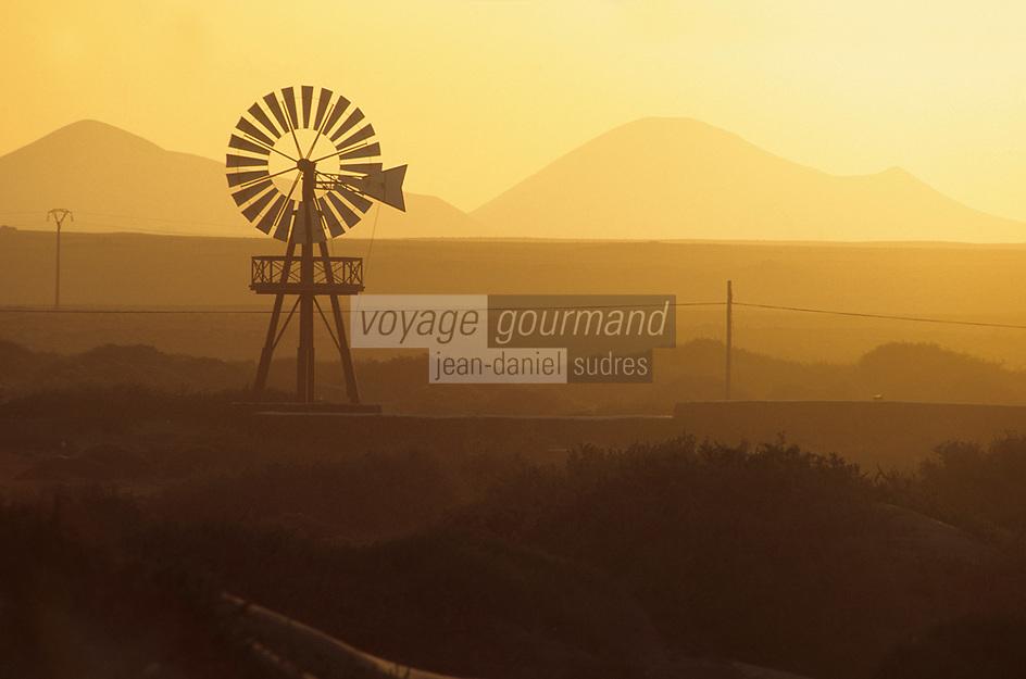 Europe/Espagne/Iles Canaries/Lanzarote : Paysage volcanique et éolienne au soleil couchant