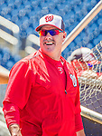23 May 2015: Washington Nationals batting coach Rick Schu smiles during batting practice prior to a game against the Philadelphia Phillies at Nationals Park in Washington, DC. The Phillies defeated the Nationals 8-1 in the second game of their 3-game weekend series. Mandatory Credit: Ed Wolfstein Photo *** RAW (NEF) Image File Available ***