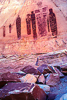 Holy Ghost and Court  Canyonlands National Park, Utah  Barrier Canyon pictographs in Great Gallery  Ancient Native American rokc painting  Over two thousand years old