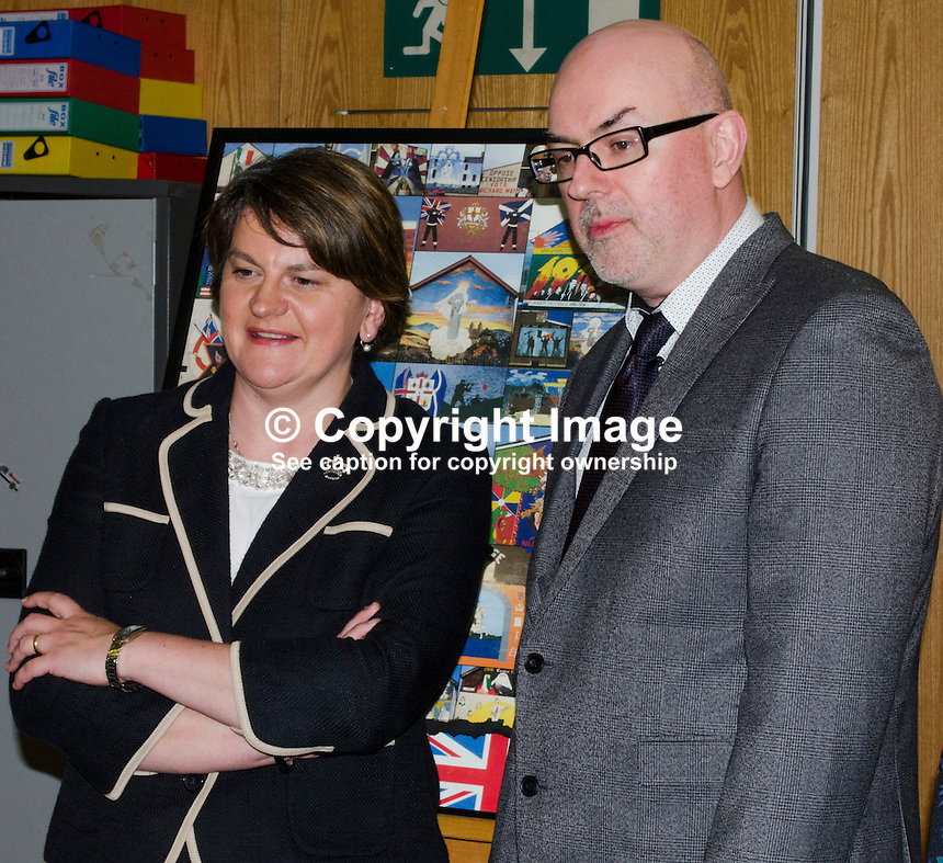 N Ireland First Minister Arlene Foster with Gavin Carville, manager, Divided Society Digitisation Project, during here 1st September 2016 visit to the Linen Hall Library, Belfast. 201609014170<br /> <br /> Copyright Image from Victor Patterson, 54 Dorchester Park, Belfast, UK, BT9 6RJ<br /> <br /> t1: +44 28 9066 1296 (from Rep of Ireland 048 9066 1296)<br /> t2: +44 28 9002 2446 (from Rep of Ireland 048 9002 2446)<br /> m: +44 7802 353836<br /> <br /> e1: victorpatterson@me.com<br /> e2: victorpatterson@gmail.com<br /> <br /> The use of my copyright images is subject to my Terms &amp; Conditions.<br /> <br /> It is IMPORTANT that you familiarise yourself with them. They are available on my website at www.victorpatterson.com.<br /> <br /> None of my copyright images may be used on a website unless they are visibly watermarked, i.e. &copy; Victor Patterson within the body of the visible image. Metadata denoting my copyright must NOT be deleted. <br /> <br /> Web use is extra at currently recommended NUJ rates.