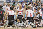 November 18 2011 - Guadalajara, Mexico:   David Eng of Team Canada chats with his teammates in the CODE Alcalde Sports Complex at the 2011 Parapan American Games in Guadalajara, Mexico.  Photos: Matthew Murnaghan/Canadian Paralympic Committee