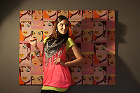 15/04/2009.Blathnaid McKenna wearing a lime tee shirt & pink top & scarf as part of Shaws Department Stores summer trends 2009 at The Casting Couch, Fitzwilliam Square, Dublin..Photo: Gareth Chaney Collins