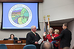Re-elected councilmember, Megan Satterlee is sworn in for another term on council.