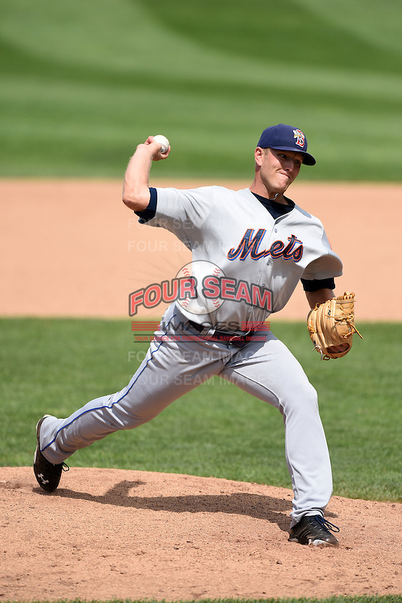 Binghamton Mets pitcher Ryan Fraser (34) delivers a pitch during a game against the Erie Seawolves on July 13, 2014 at Jerry Uht Park in Erie, Pennsylvania.  Binghamton defeated Erie 5-4.  (Mike Janes/Four Seam Images)