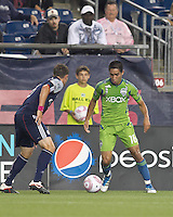 Seattle Sounders forward David Estrada (16) on the attack. In a Major League Soccer (MLS) match, the Seattle Sounders FC defeated the New England Revolution, 2-1, at Gillette Stadium on October 1, 2011.