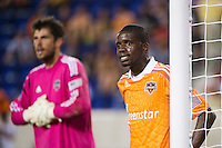 Boniek Garcia (27) of the Houston Dynamo guards the near post. The New York Red Bulls defeated the Houston Dynamo 2-0 during a Major League Soccer (MLS) match at Red Bull Arena in Harrison, NJ, on August 10, 2012.