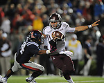 Texas A&amp;M quarterback Johnny Manziel (2) is sacked by Ole Miss defensive lineman Issac Gross (94) at Vaught-Hemingway Stadium in Oxford, Miss. on Saturday, October 6, 2012. Texas A&amp;M rallied from a 27-17 4th quarter deficit to win 30-27.
