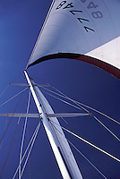Sailing, Main mast, looking up, Southern California, Santa Monica Bay, South Bay, SoCal, Motor Boating, Power Yachts,
