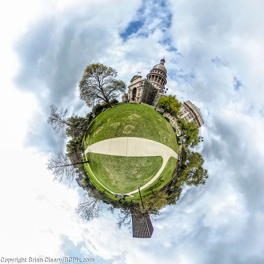 little planet 360 degree view.  (Photo by Brian Cleary/ www.bcpix.com ) Texas State Capital grounds , Austin, TX