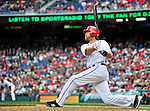 12 April 2012: Washington Nationals outfielder Jayson Werth in action against the Cincinnati Reds at Nationals Park in Washington, DC. The Nationals defeated the Reds 3-2 in 10 innings to take the first game of their 4-game series. Mandatory Credit: Ed Wolfstein Photo