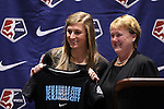 17 January 2014: Kassey Kallman, with NWSL Executive Director Cheryl Bailey (right), was selected with the fifth overall pick by FC Kansas City. The 2014 National Women's Soccer League Draft was held at the NSCAA Annual Convention in the Pennsylvania Convention Center in Philadelphia, Pennsylvania.
