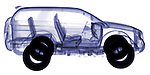 X-ray image of an SUV (color on white) by Jim Wehtje, specialist in x-ray art and design images.