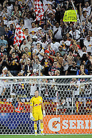 New York Red Bulls fans cheer after goalkeeper Greg Sutton (24) stopped a penalty kick during a Major League Soccer (MLS) match against the New England Revolution at Red Bull Arena in Harrison, NJ, on June 10, 2011.