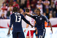 Julio Cesar (55) of Sporting Kansas City talks with Lawrence Olum (13). The New York Red Bulls and Sporting Kansas City played to a 0-0 tie during a Major League Soccer (MLS) match at Red Bull Arena in Harrison, NJ, on October 20, 2012.