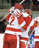 Ryan Ruikka (BU - 2), Cason Hohmann (BU - 7) - The Boston University Terriers defeated the visiting Providence College Friars 4-2 (EN) on Saturday, December 13, 2012, at Agganis Arena in Boston, Massachusetts.