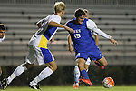 05 October 2015: Duke's Zach Mathers (15) shoots the ball. The Duke University Blue Devils hosted the Hofstra University Pride at Koskinen Stadium in Durham, NC in a 2015 NCAA Division I Men's Soccer match. Duke won the game 3-2 in overtime.
